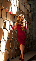 Платье с разрезами бордовое