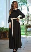 Черное с белым платье в пол