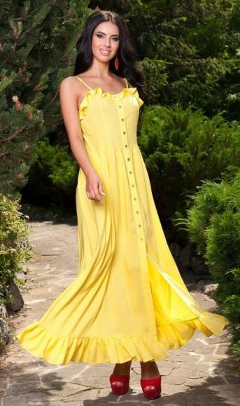Сарафан желтого цвета с воланами