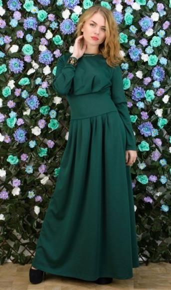 Платье-макси темно зеленого цвета