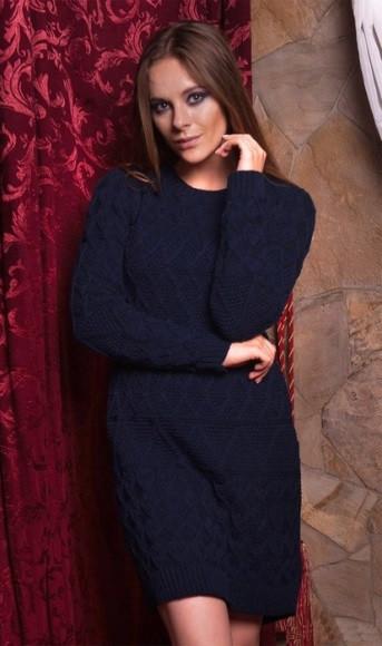 Плаття з вовни темно синього кольору