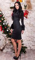 Платье с меховыми манжетами черного цвета