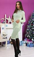 Вязанное платье молочного цвета