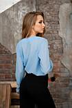 Блузка с запахом голубая, фото 2