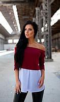 Блузка со спущенными плечами бордовая