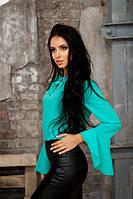 Блузка с расклешенными рукавами ментолового цвета