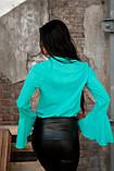Блузка с расклешенными рукавами ментолового цвета, фото 2