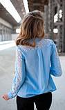 Кружевная блуза голубого цвета, фото 2