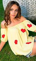 Блузка с открытыми плечами желтого цвета
