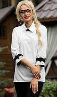 Белая блузка с черными вставками