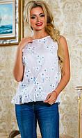 Блузка без рукавов с рюшами белая