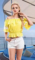 Романтическая блуза с кружевом желтая