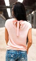 Кофта персикового цвета с бантом