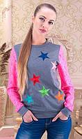 Серый свитшот с вышивкой и розовыми рукавами