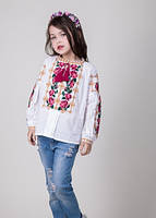9d05ee5d632 Вышитая блуза для девочки на домотканом полотне