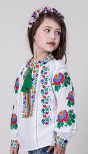 Модная вышитая детская блуза на домотканке (128-158)