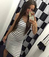 Женское летнее платье миди в полоску