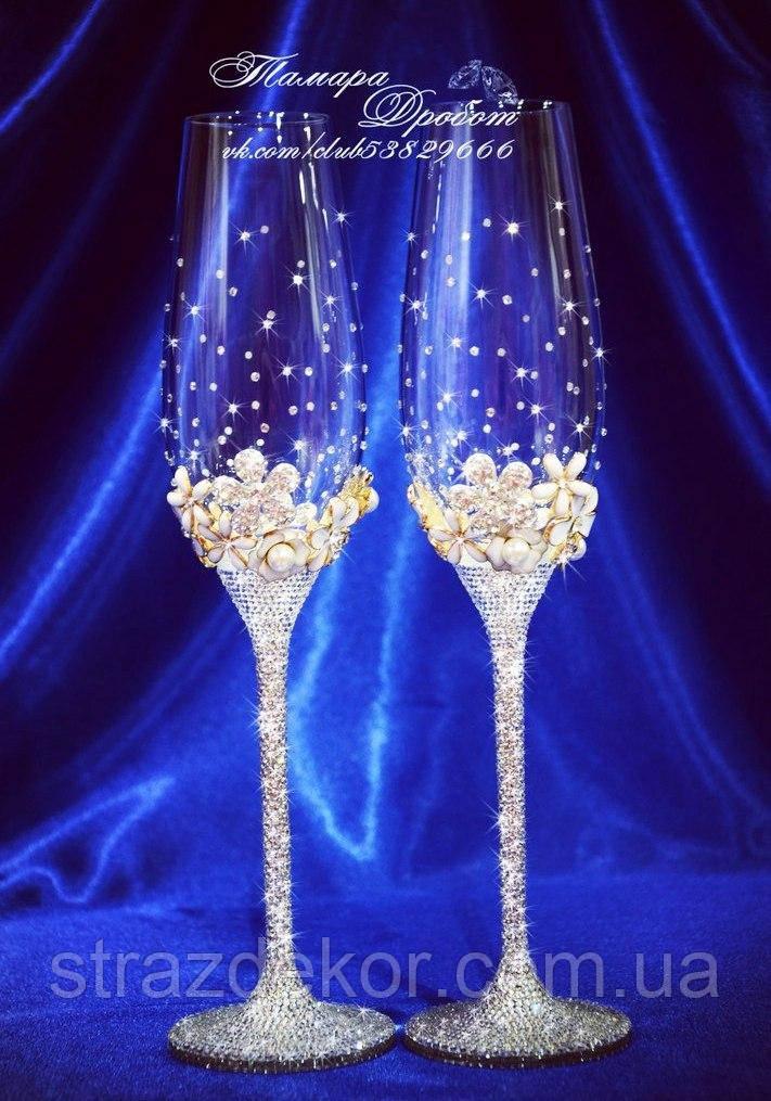 Свадебные бокалы с декором и стразами Сваровски (Тюльпаны)