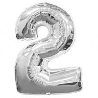 """Воздушные шарики оптом. Шар цифра фольга серебрянный """"2"""""""