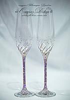 Свадебные бокалы 26,3см в стразах Сваровски розово-фиолетовые (или золотистое шампанское) хамелеоны