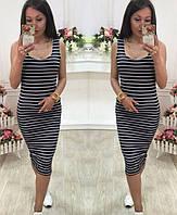 Женское летнее платье-майка в полоску