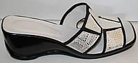 Летние женские сабо бело-золотые кожа, кожаная летняя обувь от производителя модель ВЛ69Р-4