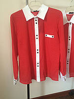 Рубашка красная белый воротник