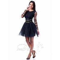 Платье из сетки и фатина с подкладкой №121 Размер:S - (42); Цвет:Черный