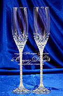Свадебные бокалы 27,5см со стразами Сваровски (копия)