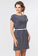 Темно-синее  платье в белую полоску