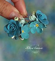 """Авторские серьги с цветами """"Розы с незабудками"""" из полимерной глины, фото 1"""