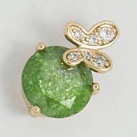Кулон Xuping №196 зеленое яблоко с бабочкой и стразами.