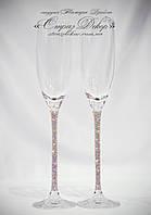 Свадебные бокалы 27,5см со стразами Сваровски (розовые или золотистые хамелеоны, микс)