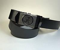 Мужской ремень со стильной пряжкой, черный