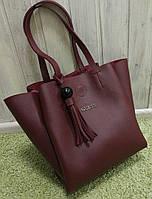 Женская брендовая сумка Guess Гесс бордовая