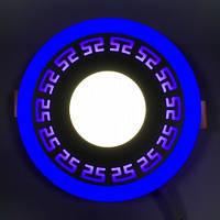 LED панель Lemanso LM533 Грек круг 3+3W синяя подсветка 350Lm 4500K