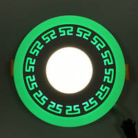 LED панель Lemanso LM533 Грек круг 3+3W зеленая подсветка 350Lm 4500K