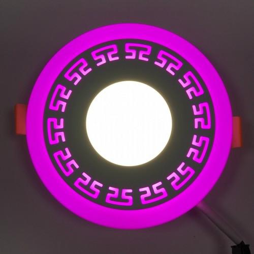 LED панель Lemanso LM533 Грек круг 3+3W розовая подсветка 350Lm 4500K