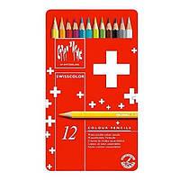 Набор акварельных карандашей Caran d'Ache Swisscolor 12 шт. Оригинал!