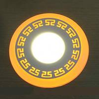 LED панель Lemanso LM555 Грек круг 6+3W жёлтая подсветка 540Lm 4500K