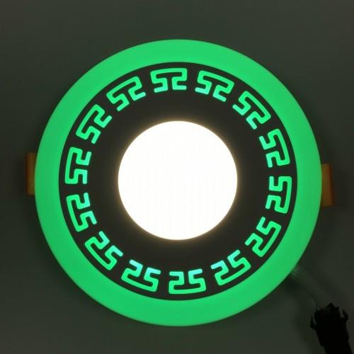 LED панель Lemanso LM555 Грек круг 6+3W зеленая подсветка 540Lm 4500K