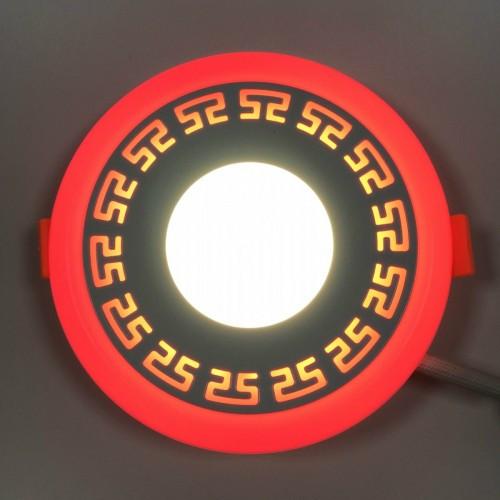 LED панель Lemanso LM555 Грек круг 6+3W красная подсветка 540Lm 4500K