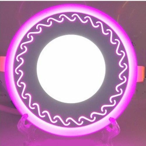 LED панель Lemanso LM544 Завитки круг 12+6W розовая подсветка 1080Lm 4500K