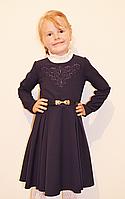 Модное платье для школы синего цвета с клешной юбкой