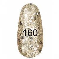 Гель-лак  Kodi 8 мл № 160 жемчужный с золотым перламутром