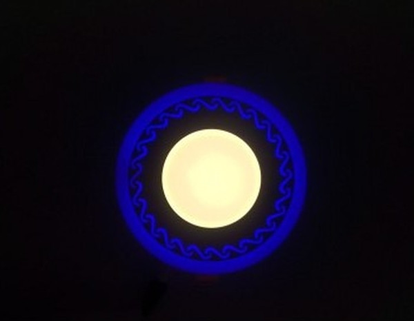 LED панель Lemanso LM544 Завитки круг 12+6W синяя подсветка 1080Lm 4500K