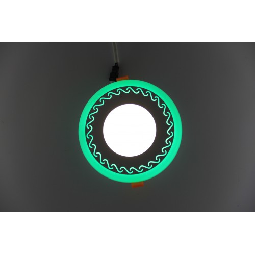 LED панель Lemanso LM534 Завитки круг 3+3W зеленая подсветка 350Lm 4500K