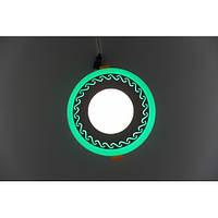 LED панель Lemanso LM534 Завитки круг 3+3W зеленая подсветка 350Lm 4500K, фото 1