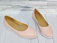Балетки светло-розовые. Натуральная кожа 1568