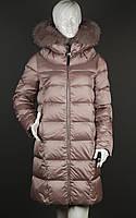 Пуховик зимний с мехом енота Batter Flei 1701-2 розовый